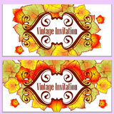 Autumn leaves invitation Royalty Free Stock Images