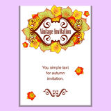 Autumn leaves invitation Stock Photos
