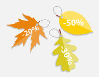 Autumn Leaves Labels Vector Illustration Stock Photography