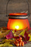 Autumn leaves with lantern abstract background Royalty Free Stock Image