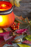 Autumn leaves with lantern abstract background Royalty Free Stock Images