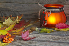 Autumn leaves with lantern abstract background Stock Photography