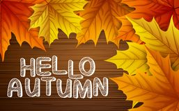 Autumn leaves with lettering on wooden background. Illustration of Autumn leaves with lettering on wooden background Royalty Free Stock Images