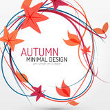 Autumn leaves and lines abstract background Royalty Free Stock Image