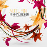 Autumn leaves and lines abstract background Royalty Free Stock Images