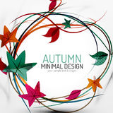 Autumn leaves and lines abstract background Royalty Free Stock Photos