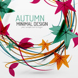 Autumn leaves and lines abstract background Stock Photos