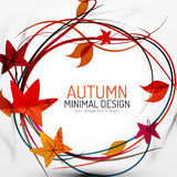 Autumn leaves and lines abstract background Royalty Free Stock Photo