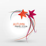 Autumn leaves and lines abstract background Stock Photo