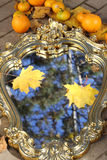 Autumn leaves of a maple on a mirror in sky reflexion. Reflexion in a mirror of yellow sheet of a maple against the dark blue sky Royalty Free Stock Photo