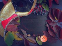 Autumn leaves and a mask with a candle Stock Photos