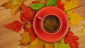 Autumn Leaves met Koffie stock footage