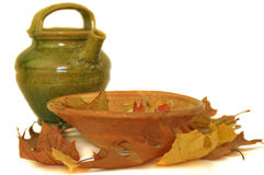 Autumn Leaves, Old Jug and Bowl Royalty Free Stock Photography