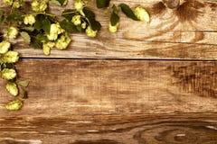 Autumn leaves on old wood Stock Photos