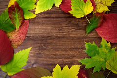 Autumn leaves on old wooden Royalty Free Stock Photos