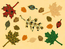 Autumn Leaves, original artwork. With cream background Royalty Free Stock Photo