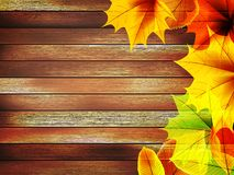 Autumn leaves over old wooden. plus EPS10 Royalty Free Stock Photos