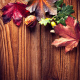 Autumn Leaves. Over wooden background.With copy space Royalty Free Stock Photo