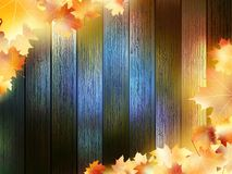 Autumn Leaves over wooden background. EPS10 Stock Image