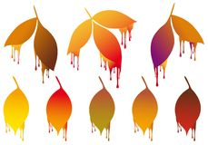 Autumn leaves with paint drops, vector set Royalty Free Stock Image