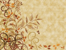 Autumn Leaves Parchment. Autumn colored leaves and flourishes on parchment textured background Stock Images