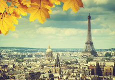 Autumn leaves in Paris and Eiffel tower Royalty Free Stock Images
