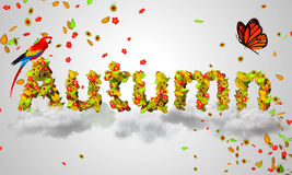 Autumn leaves particles 3D Stock Photo