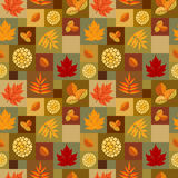 Autumn leaves patchwork pattern Stock Images