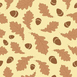Autumn Leaves Pattern. Autumn Leaves & Acorn Pattern Background Stock Images