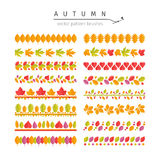 Autumn Leaves Pattern Brushes Set Immagini Stock