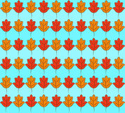 Autumn Leaves Pattern. Colorful pattern of orange and yellow stylized fall leaves on light blue striped background. Vector seamless repeat Royalty Free Stock Image