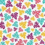 Autumn leaves pattern. Hand-drawn seamless pattern. Vector illustration Royalty Free Stock Images