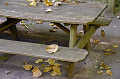 Autumn leaves on picnic table. Dried leaves on wooden picnic table in autumn Stock Photography