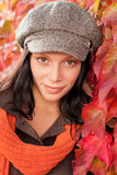 Autumn leaves portrait of beautiful female model Royalty Free Stock Photos