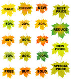 Autumn leaves price tags Royalty Free Stock Images