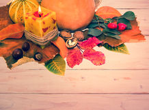 Autumn leaves and pumpkin with paper Stock Photos