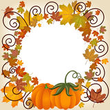 Autumn leaves pumpkin picture frame Royalty Free Stock Image