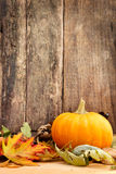 Autumn leaves and pumpkin Royalty Free Stock Photo