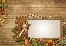 Autumn leaves,pumpkins,frame on a wooden background Stock Image