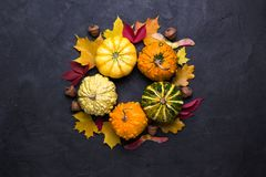 Autumn leaves and pumpkins over dark concrete background with copy space. Mockup for seasonal offers and holiday post card,. Top view stock photos
