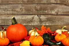 Autumn leaves, pumpkins and vegetables against an old wood background Stock Photos