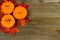 Autumn leaves and pumpkins on wood Royalty Free Stock Photography