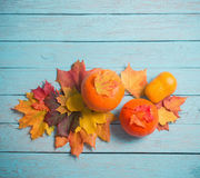 Autumn leaves and pumpkins on  wooden background Royalty Free Stock Images