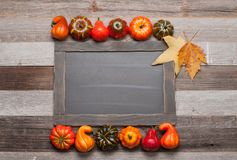 Autumn leaves, pumpkins on wooden background with copy space on chalkboard royalty free stock photography