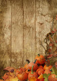 Autumn leaves and pumpkins on a wooden background Royalty Free Stock Image