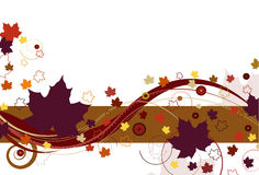 Autumn Leaves in Purple. Autumn leaves with large purple leaves and abstract design on a white background Stock Photography