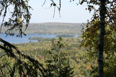 Autumn leaves in Quebec, Canada stock images
