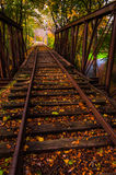 Autumn leaves on a railroad bridge in York County, Pennsylvania. Royalty Free Stock Photo