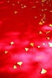 Autumn leaves on red fabric. Background of autumn leaves on red fabric Royalty Free Stock Photography