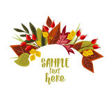 Autumn leaves with rose hip. Vector Illustration Autumn leaves decoration with rose hip Stock Image
